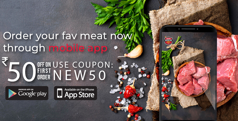 Download Everyday Meat App and Use code NEW50 to get Flat Rs.50 off on your first order